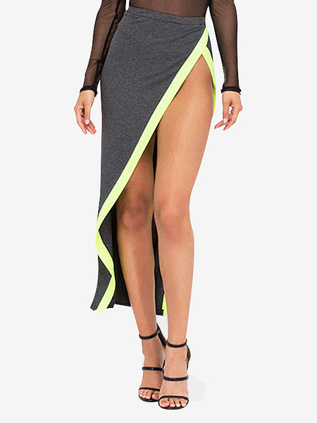 High-rise Slit Asymmetrical Wrap Maxi Skirts in Grey