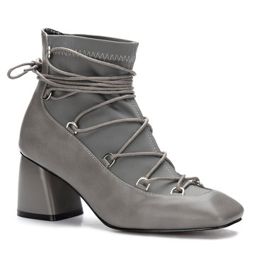 Grey Lace-up Square Toe Chunky Heels Short Boots