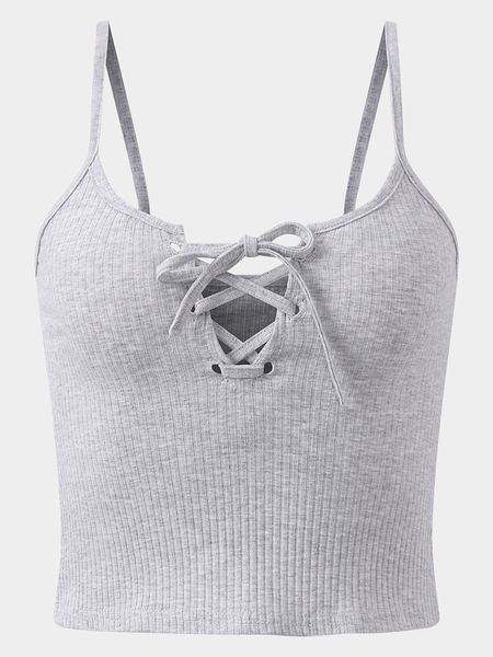 Active Cut Out Criss-cross Design Vest in Grey
