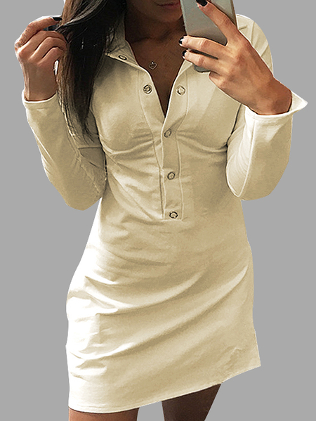 Khaki Causal Button Design Vestido irregular do t-shirt do hem