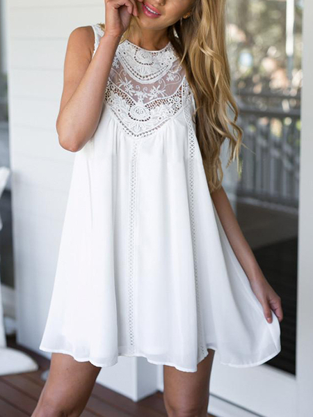 White Lace Detail Crew Neck Sleeveless Loose Fit Mini Dress