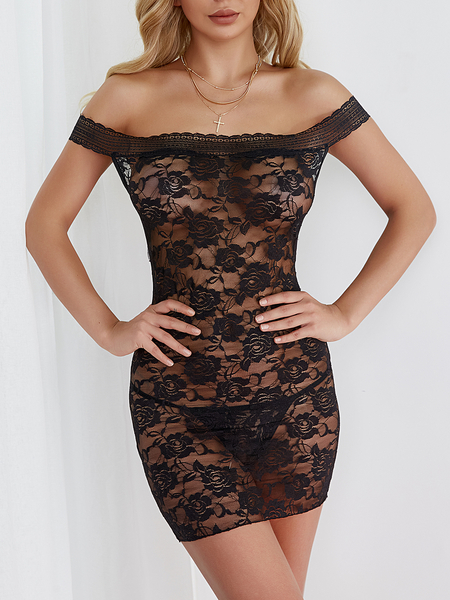 Black Lace Details Off The Shoulder Sleeveless Lingerie Sets