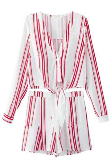 White and Red Striped Long Sleeves Suit