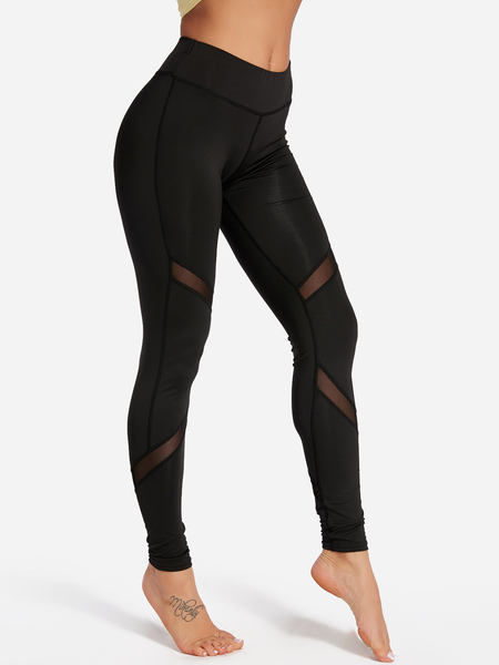 Active Net Yarn Costura Secado Rápido Leggings de Alta Cintura en Negro
