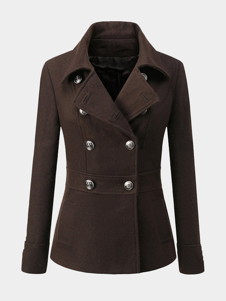 Coffee Double Breasted Classic Collar Tweed Coat