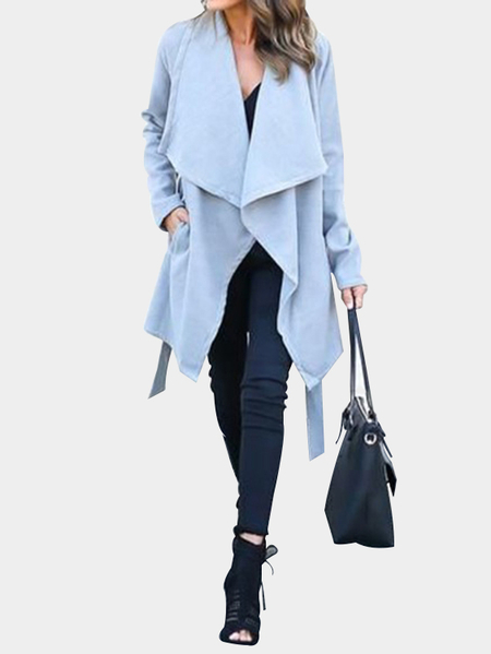 Blue Oversize Lapel Colar Longline Tweed Coat with Waist Tie