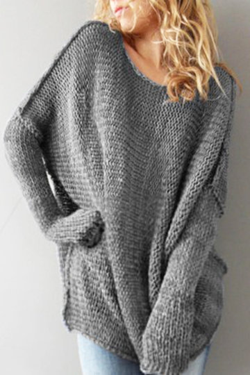Grey Fashion Round Neck Loose Jumper