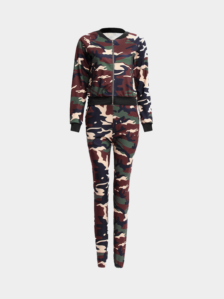 Camouflage Pattern Drawstring Design Trousers Co-ord