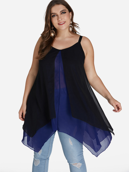 Plus Size Blue Layered-look Slit Front Irregular Hem Cami