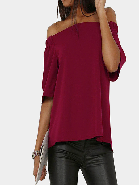 Burgundy Sexy Off Shoulder Back Splited T-shirt