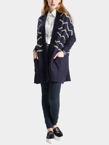 Navy Wave Printing Knitted Cardigan with Open Front