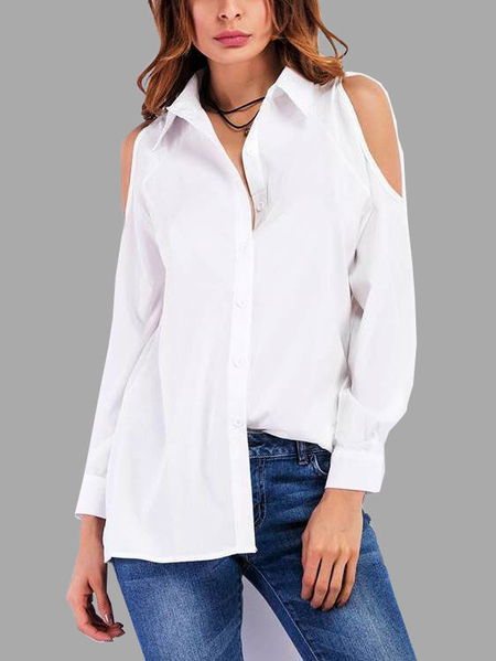 White Basic Pleated Design Cold Shoulder Shirt