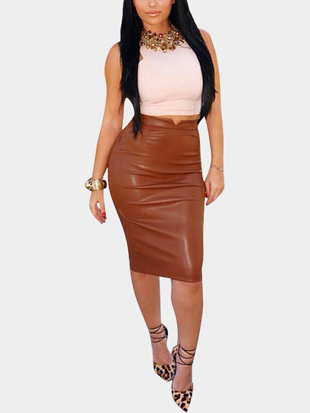 Coffee Leather-look Velvet Pencil Midi Skirt
