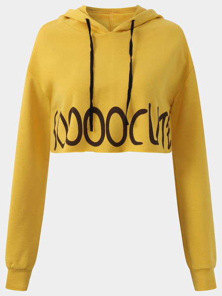 Active Letter Pattern Cut Out Sports Hoodies in Yellow