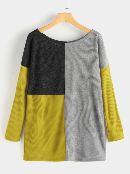 Color Block Plain Crew Neck Long Sleeves Loose Fit Sweaters