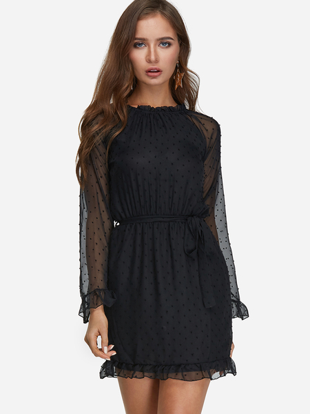 Black Polka Dot See-through Ruffled Crew Neck Long Sleeves Mini Dress