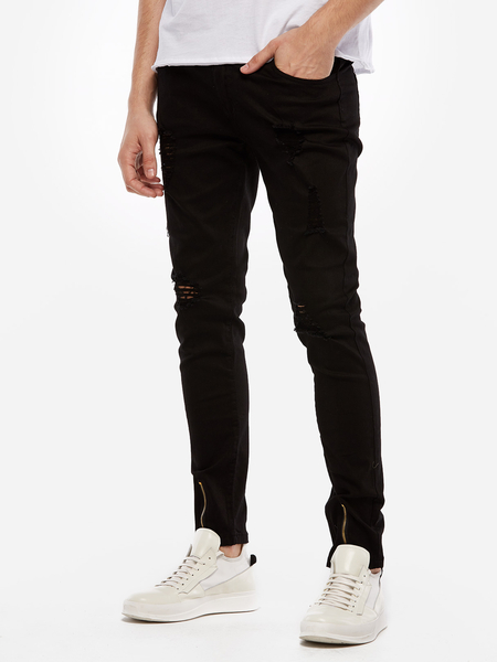 Black Ripped Details Zipper Design Men's Skinny Men's Jeans