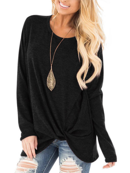Black Crossed Front Design Plain Round Neck Long Sleeves T-shirt