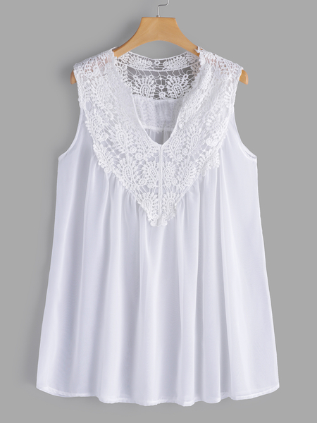 Plus Size White Lace Detail V-neck Tank