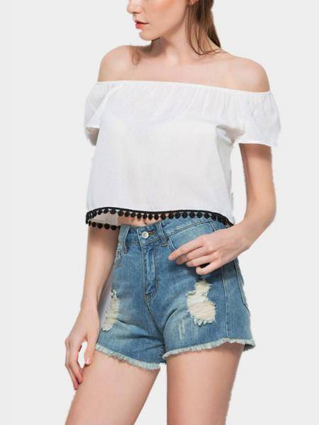 White Sexy Off Shoulder Tassel Embellished Crop Top