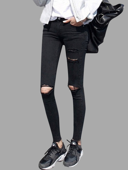 Black Bodycon Skinny Jeans with Ripped Details