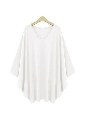 Plus Size White Sleeves Blouse