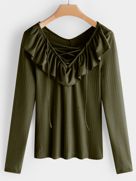 Army Green Stripe Flounced Details Lace Up Design Deep V-neck Long Sleeves T-shirt