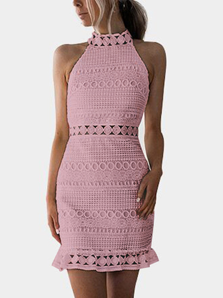 Pnik Lace Cut Out Design High Neck Sleeveless Dress