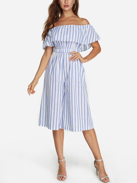 Tiered Design Stripe Off The Shoulder Short Sleeves Jumpsuit