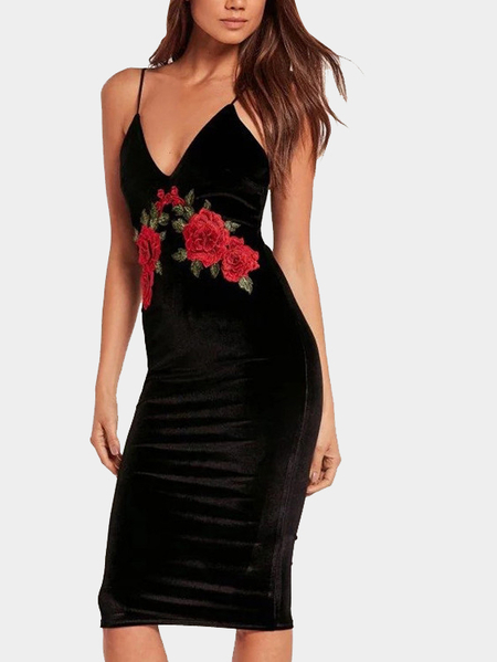 Black Deep V Front Rose Embroidered Design Midi Spaghetti Dress