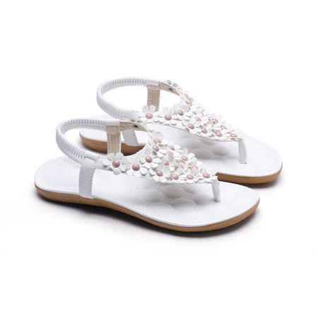 Soft White Jewelry Embellished Flat Sandals