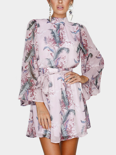 Random Floral Print Backless Design High Neck Long Sleeves Chiffon Dress