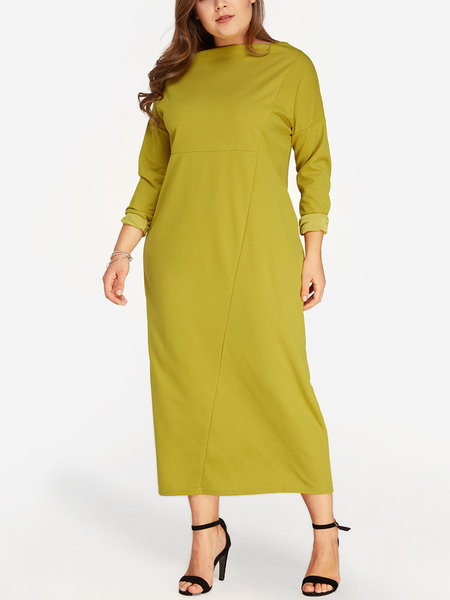 Yellow Plain Bateau Long Sleeves Dress