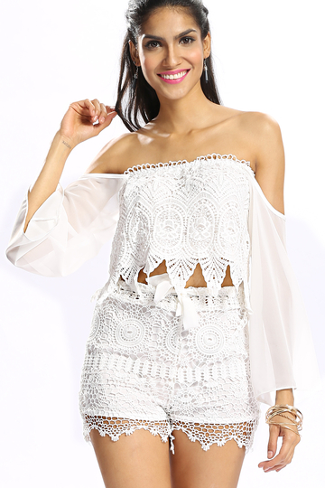 Blanc Crochet Trim Lace All-Over Stretch Waistband Tie Front Shorts