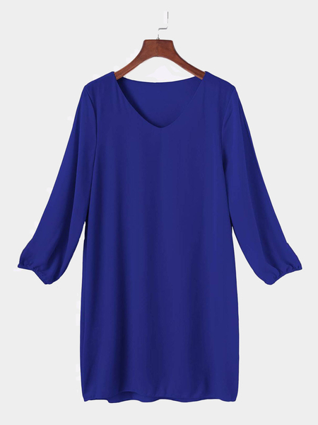 Royal Blue V-neck Long Sleeves Mini Dress