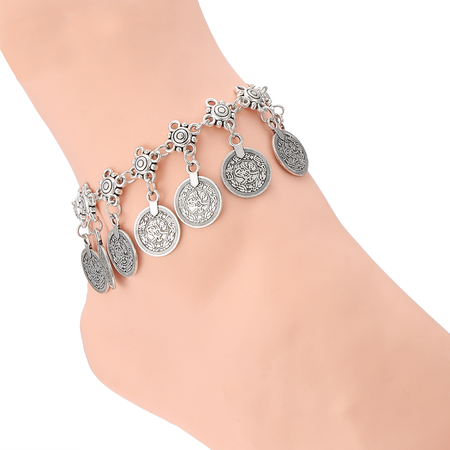 Silver Plated Coin Pattern Tassel Anklet Jewelry