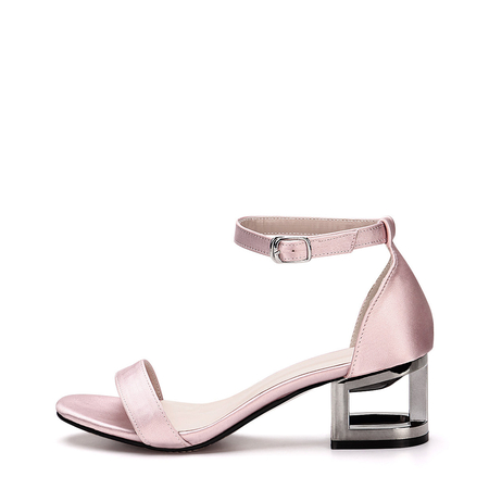 Pink Hollow Metallic Block Heel Single Strap Front Sandals