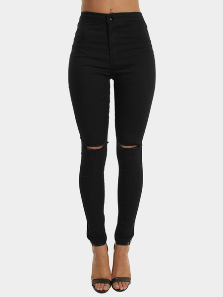 Black High-rise Bodycon Knee Ripped Jeans