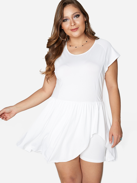 Plus Size White Tiered Design Short Sleeves Romper