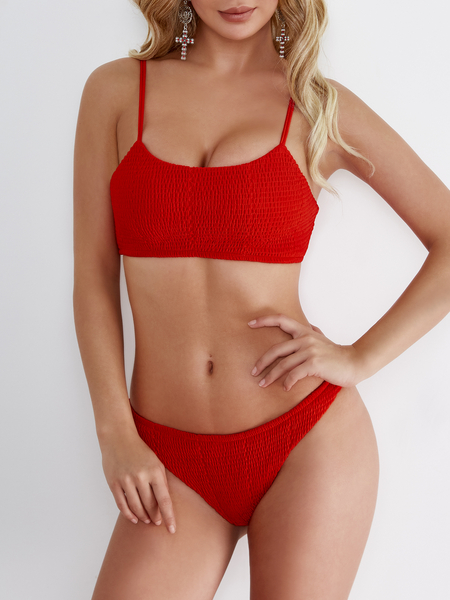 Red Pleated Design Sleeveless Bodycon Swimwear
