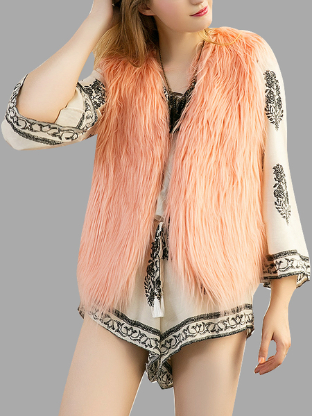 Peach Pink Fashion Sleeveless Artificial Fur Open Front Coat