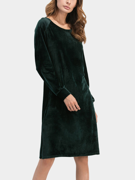 Dark Green Velvet Round Neck Side Splited Dress