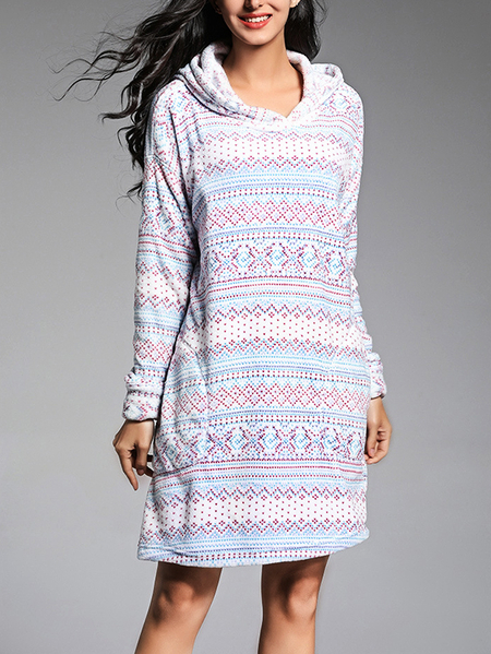 Floral Print Pattern Hooded Design Long Sleeve Pajamas in Multi