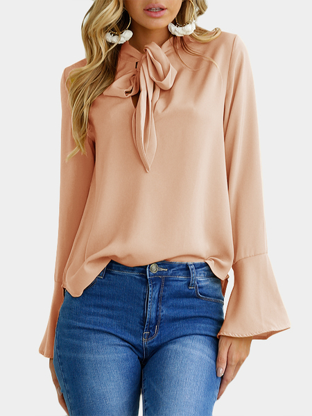 Beige Self-tie Design Bell Sleeves Chiffon Blouse
