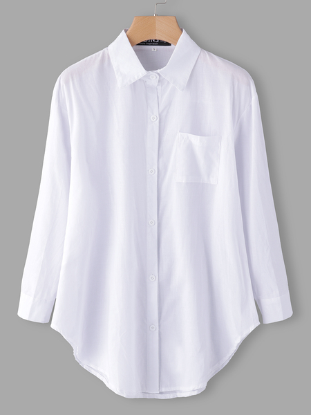 White Plain Long Sleeves Curved Hem Blouses