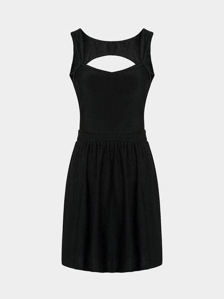 Black Sleeveless Mini Dress with Cut Out Back