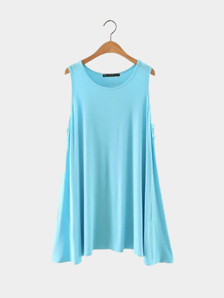 Round Neck Pure Color Sleeveless Mini Dress