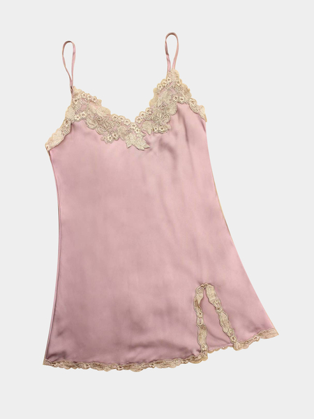 Pale Pink V Neck Applique Lace Hem Slit Side Slip Pajamas