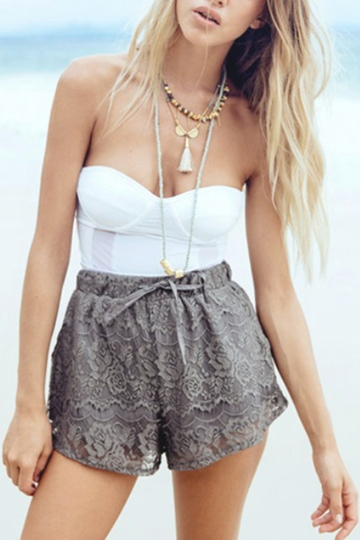 Fashion Stretch Waistband Lace Details Shorts