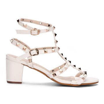 White T-bar Design Rivets Embellishment Block Heel Gladiator Sandals